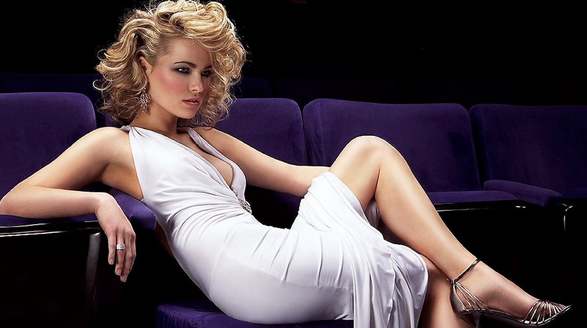 Hot Blonde Russian Wearing A White Dress