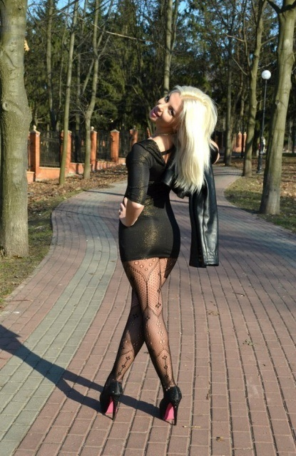 Sexy Blonde Russian Girl In A Short Skirt
